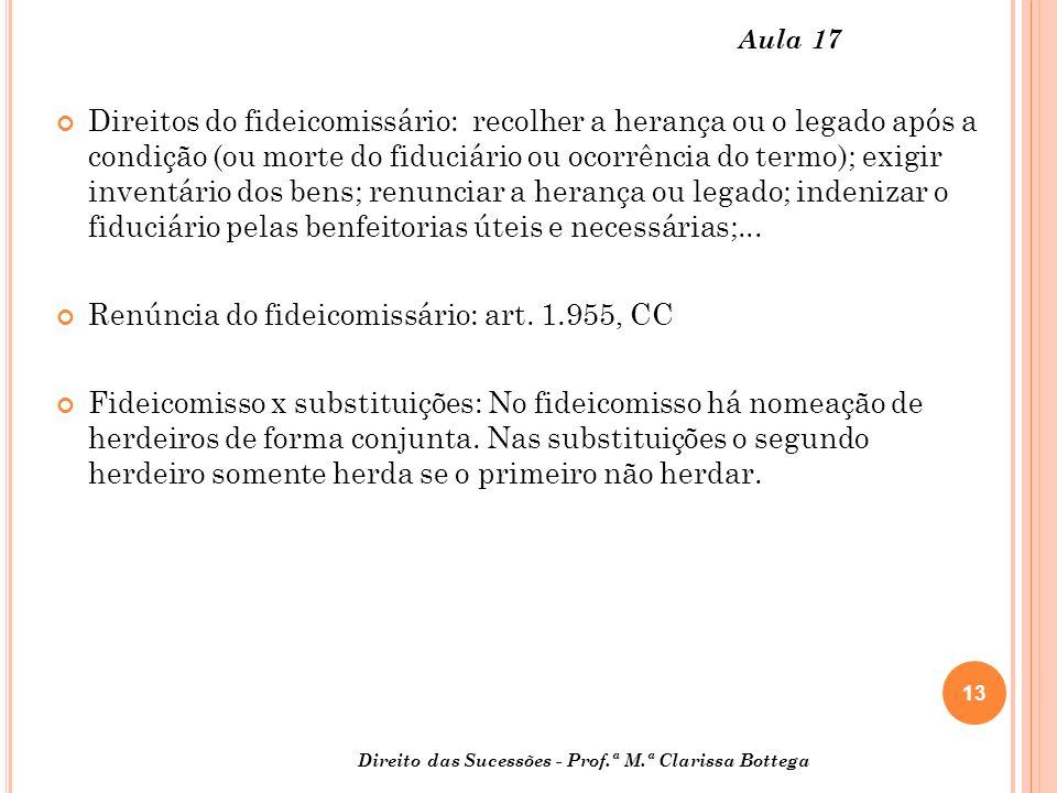 Renúncia do fideicomissário: art. 1.955, CC