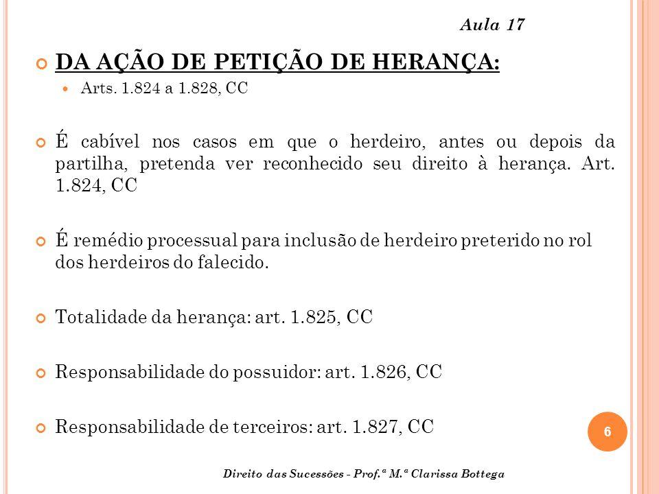 DA AÇÃO DE PETIÇÃO DE HERANÇA: