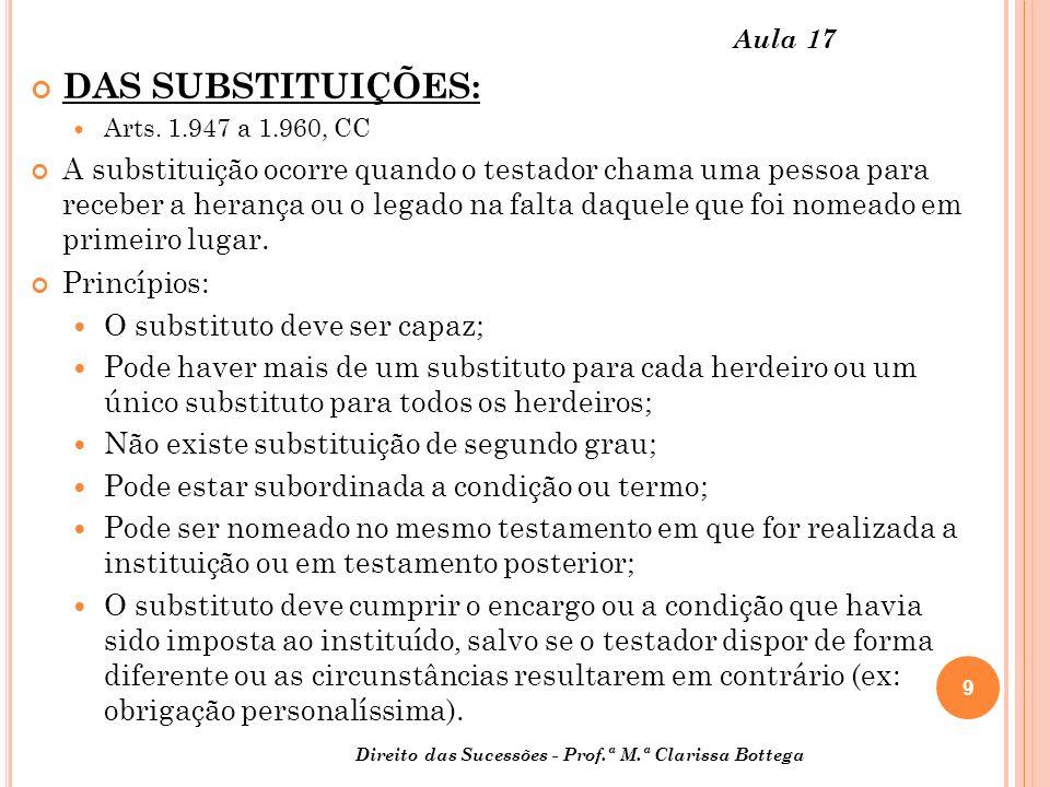 Aula 17 DAS SUBSTITUIÇÕES: Arts. 1.947 a 1.960, CC.