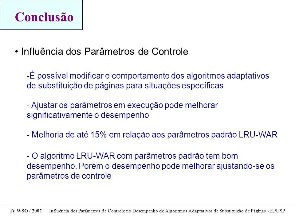 Conclusão Influência dos Parâmetros de Controle