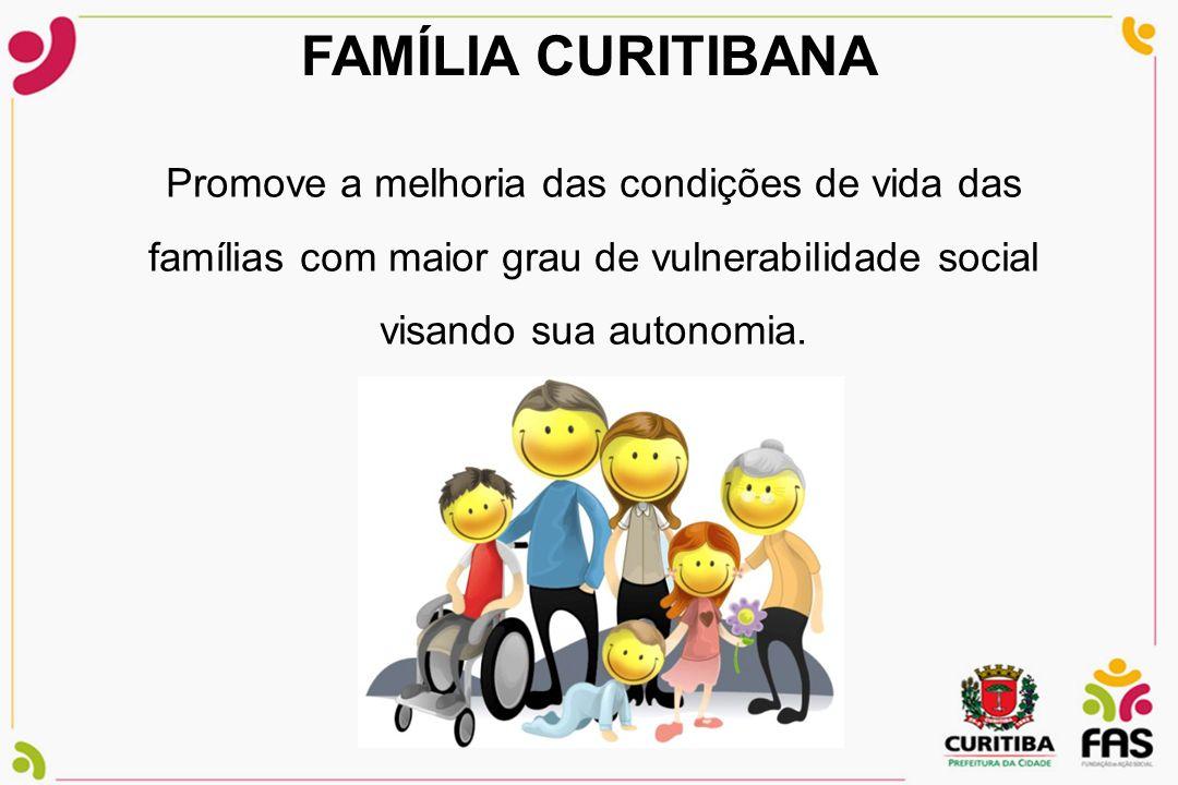 FAMÍLIA CURITIBANA Promove a melhoria das condições de vida das famílias com maior grau de vulnerabilidade social visando sua autonomia.