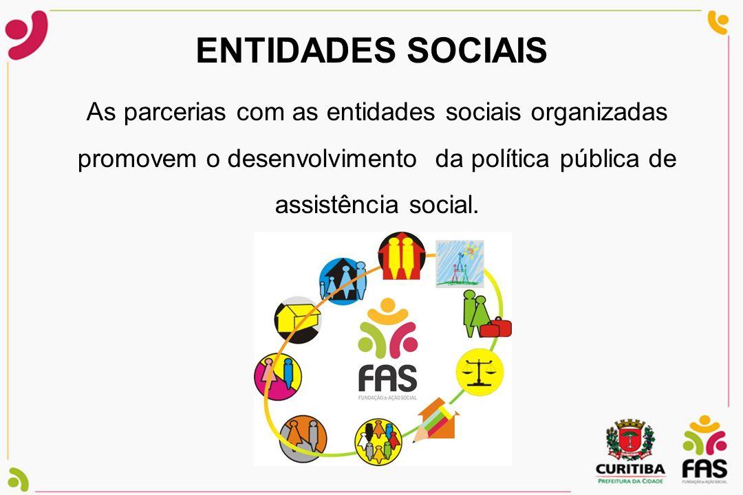 ENTIDADES SOCIAIS As parcerias com as entidades sociais organizadas promovem o desenvolvimento da política pública de assistência social.
