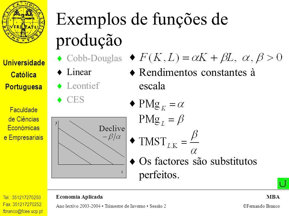 Exemplos de funções de produção