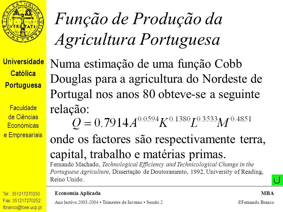 Função de Produção da Agricultura Portuguesa