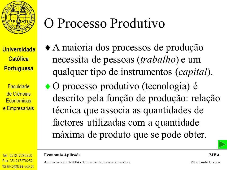 O Processo Produtivo A maioria dos processos de produção necessita de pessoas (trabalho) e um qualquer tipo de instrumentos (capital).