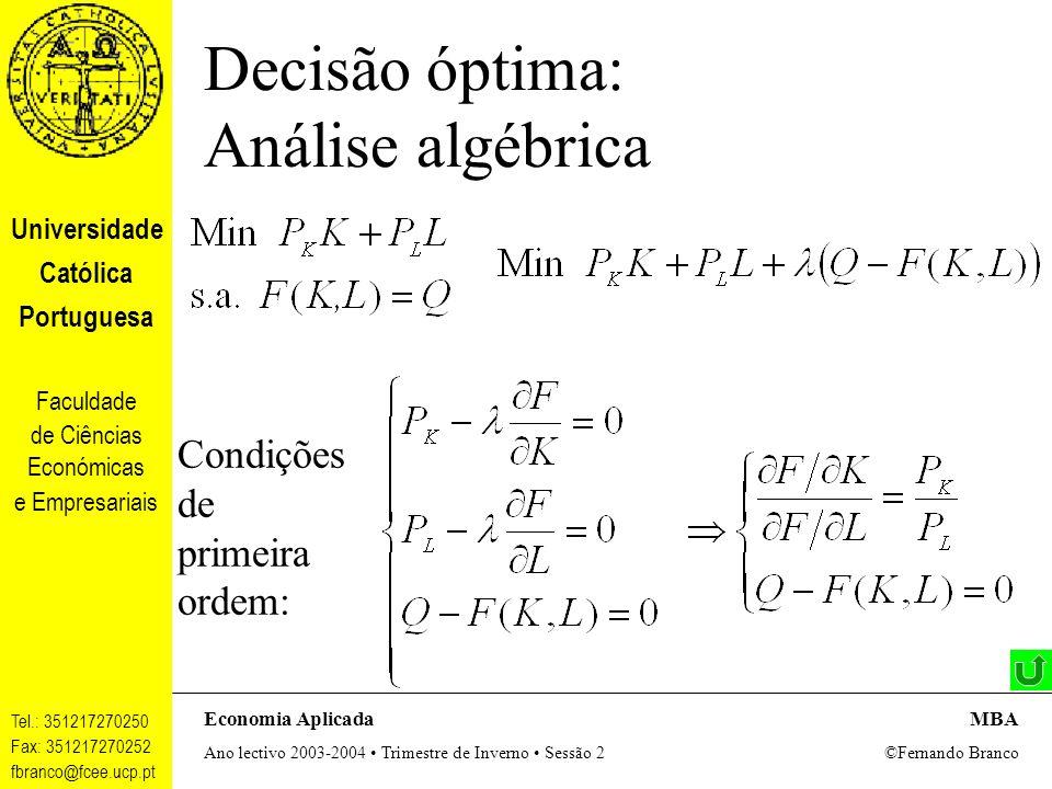 Decisão óptima: Análise algébrica