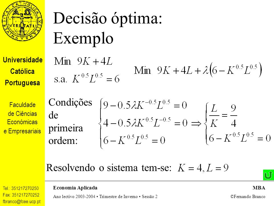 Decisão óptima: Exemplo