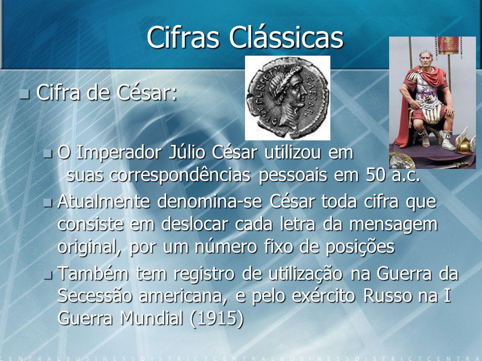 Cifras Clássicas Cifra de César: