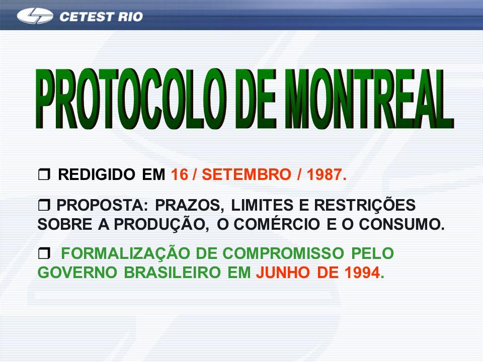 PROTOCOLO DE MONTREAL REDIGIDO EM 16 / SETEMBRO / 1987.