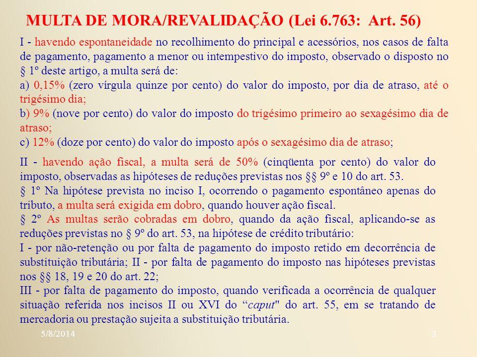 MULTA DE MORA/REVALIDAÇÃO (Lei 6.763: Art. 56)