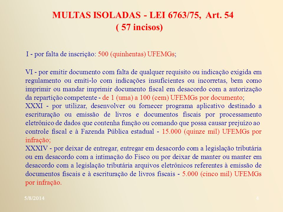 MULTAS ISOLADAS - LEI 6763/75, Art. 54