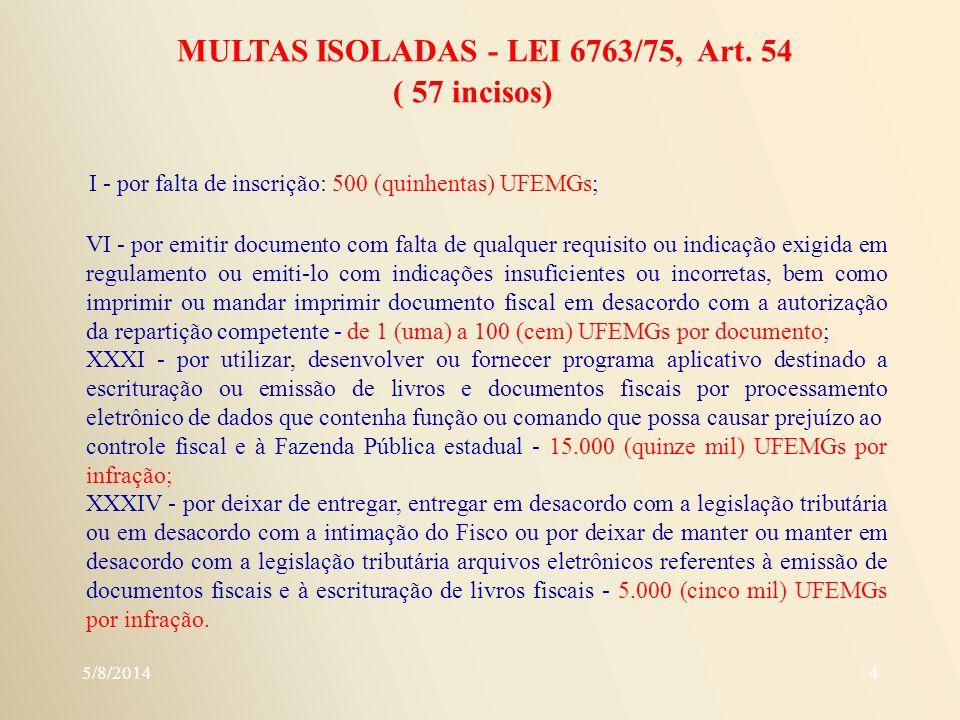 MULTAS ISOLADAS - LEI 6763/75, Art. 54