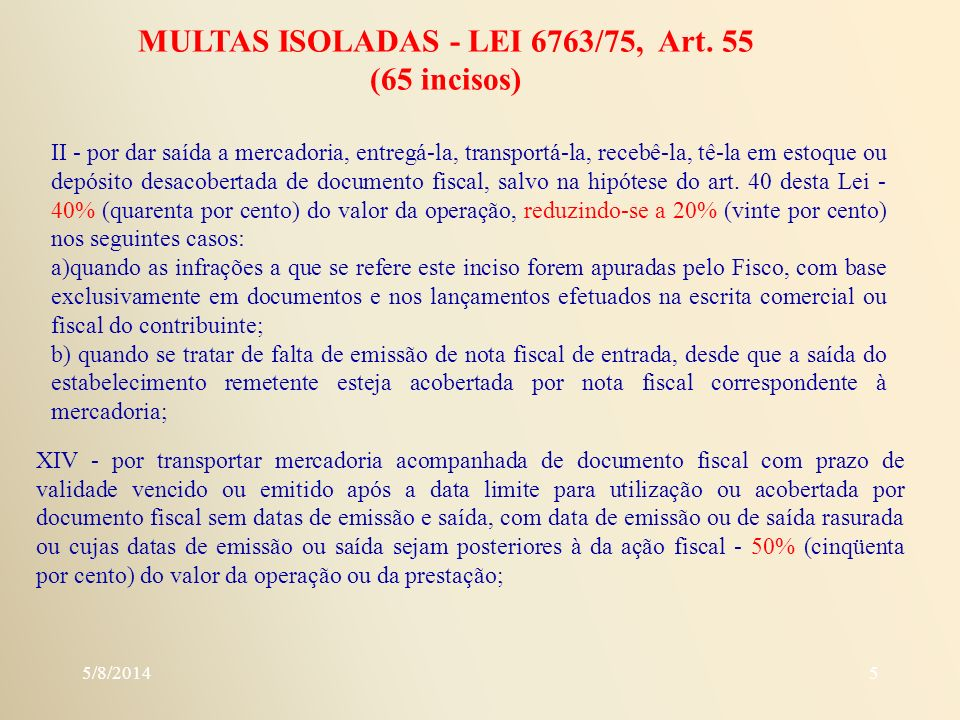 MULTAS ISOLADAS - LEI 6763/75, Art. 55