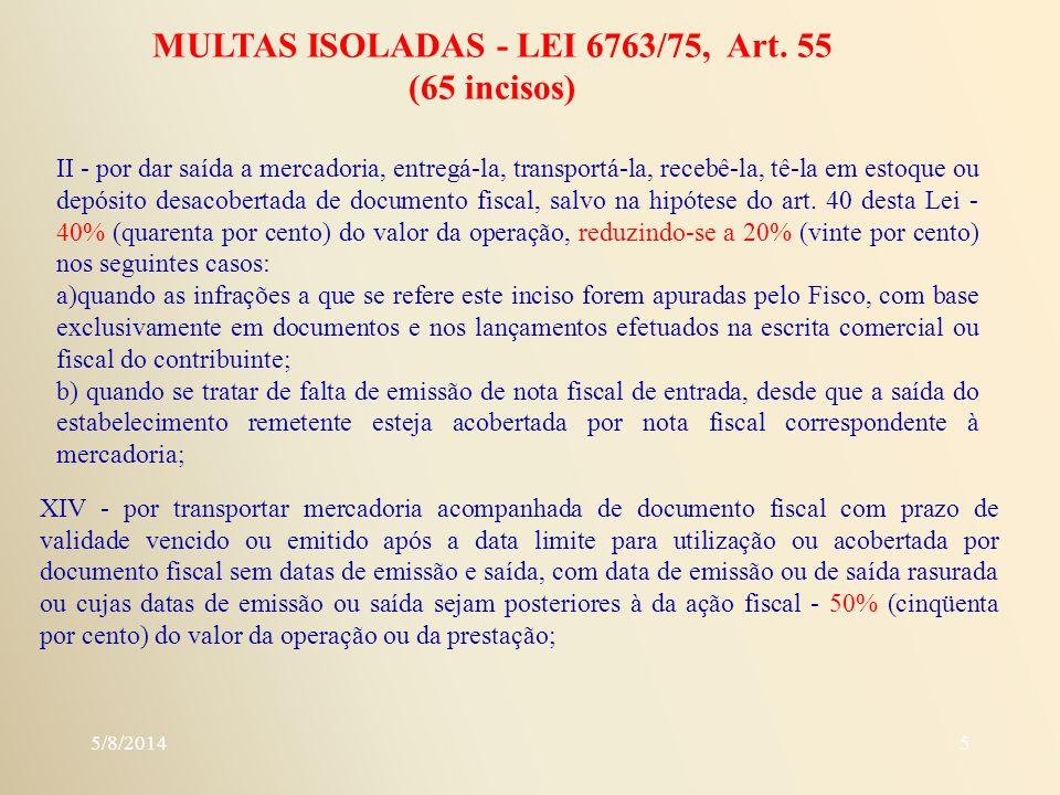 MULTAS ISOLADAS - LEI 6763/75, Art. 55