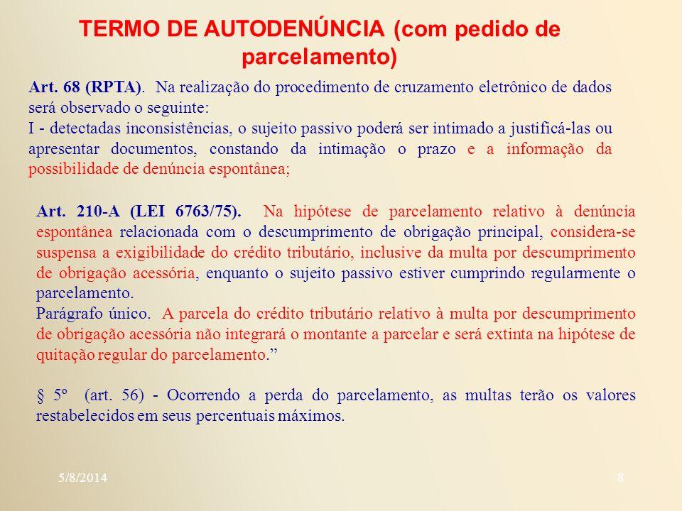 TERMO DE AUTODENÚNCIA (com pedido de parcelamento)