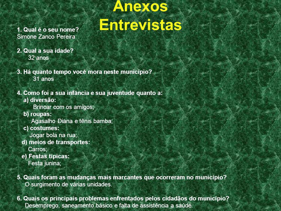 Anexos Entrevistas 1. Qual é o seu nome Simone Zanco Pereira