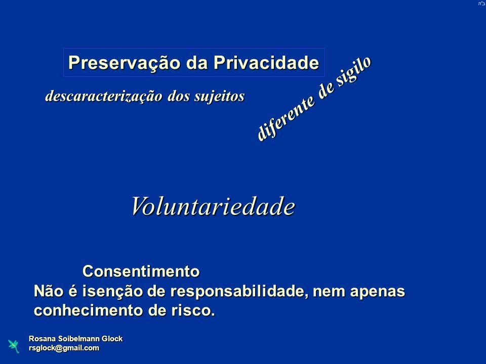 Voluntariedade Preservação da Privacidade diferente de sigilo