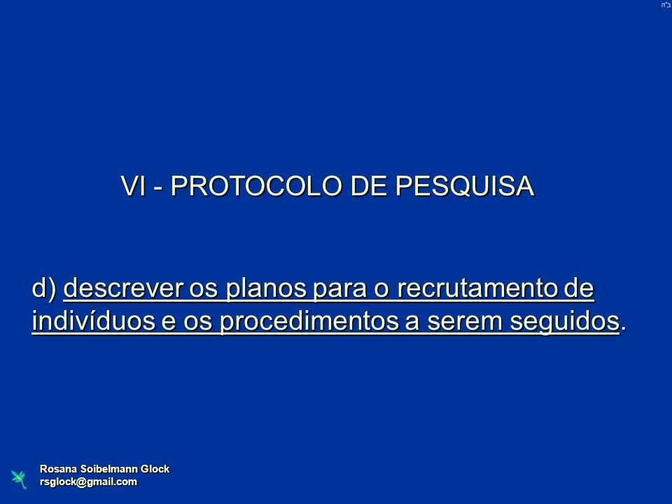 VI - PROTOCOLO DE PESQUISA