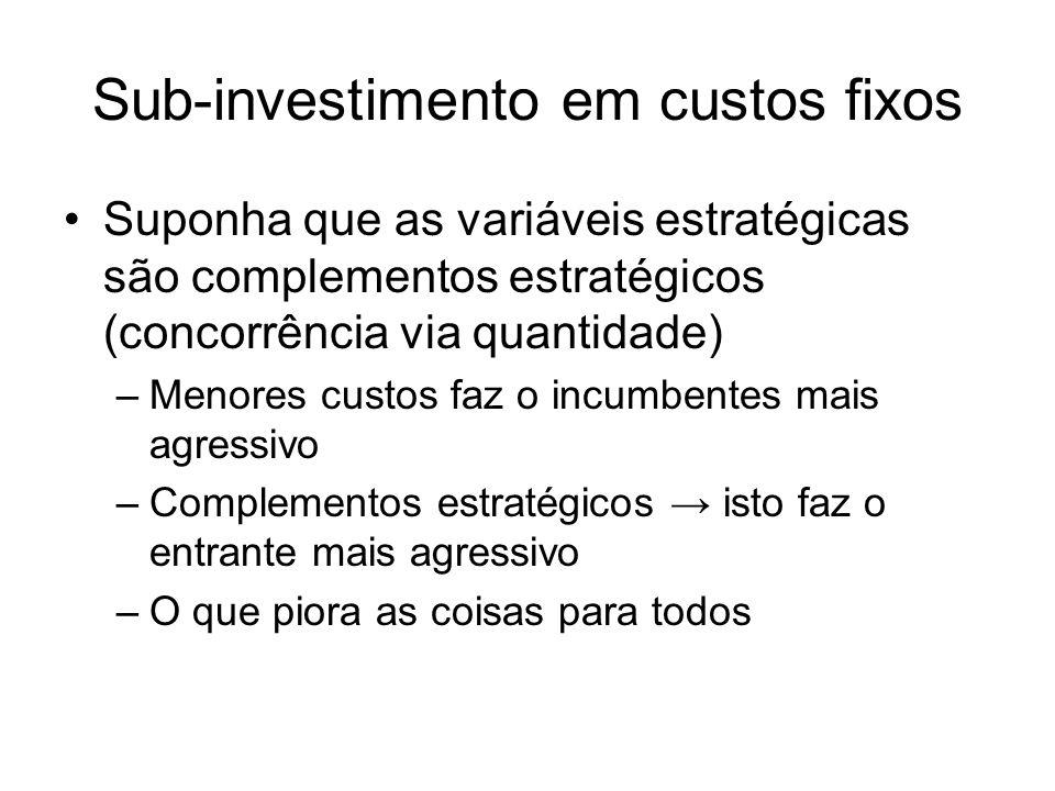 Sub-investimento em custos fixos