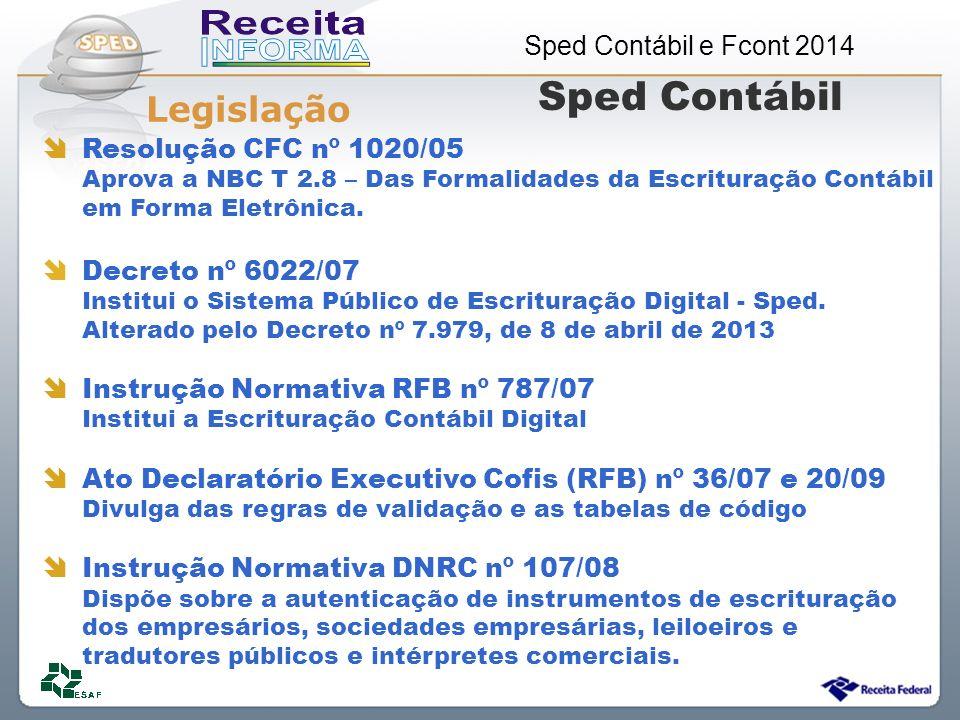 Sped Contábil Legislação Resolução CFC nº 1020/05 Decreto nº 6022/07