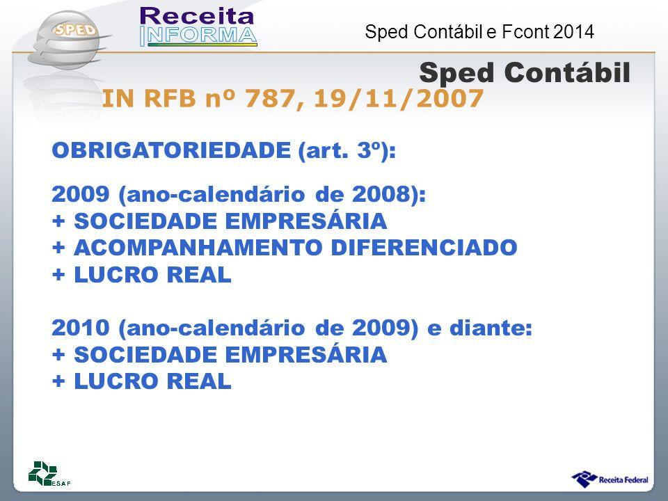 Sped Contábil IN RFB nº 787, 19/11/2007 OBRIGATORIEDADE (art. 3º):