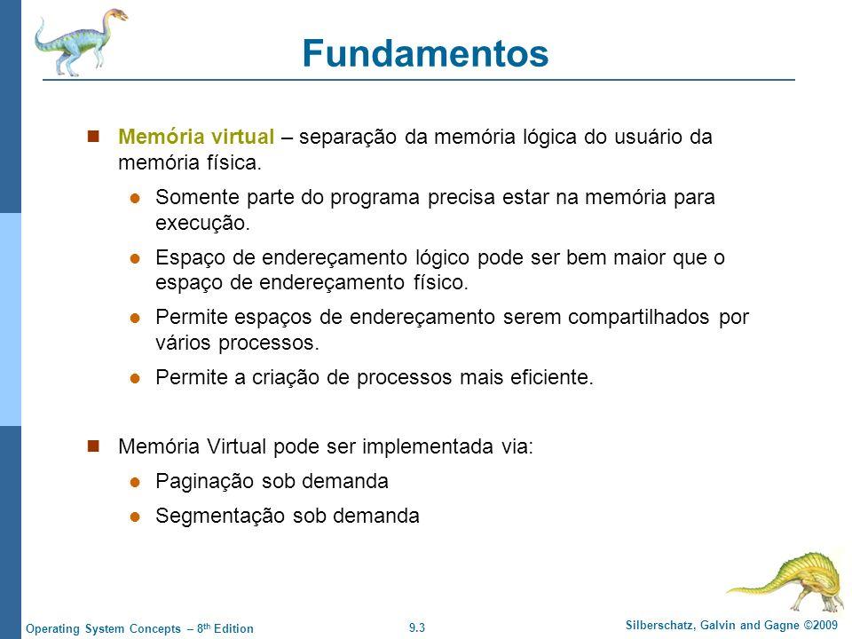 Fundamentos Memória virtual – separação da memória lógica do usuário da memória física.