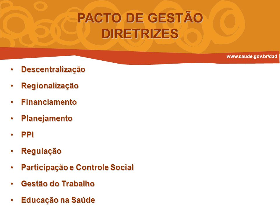 PACTO DE GESTÃO DIRETRIZES