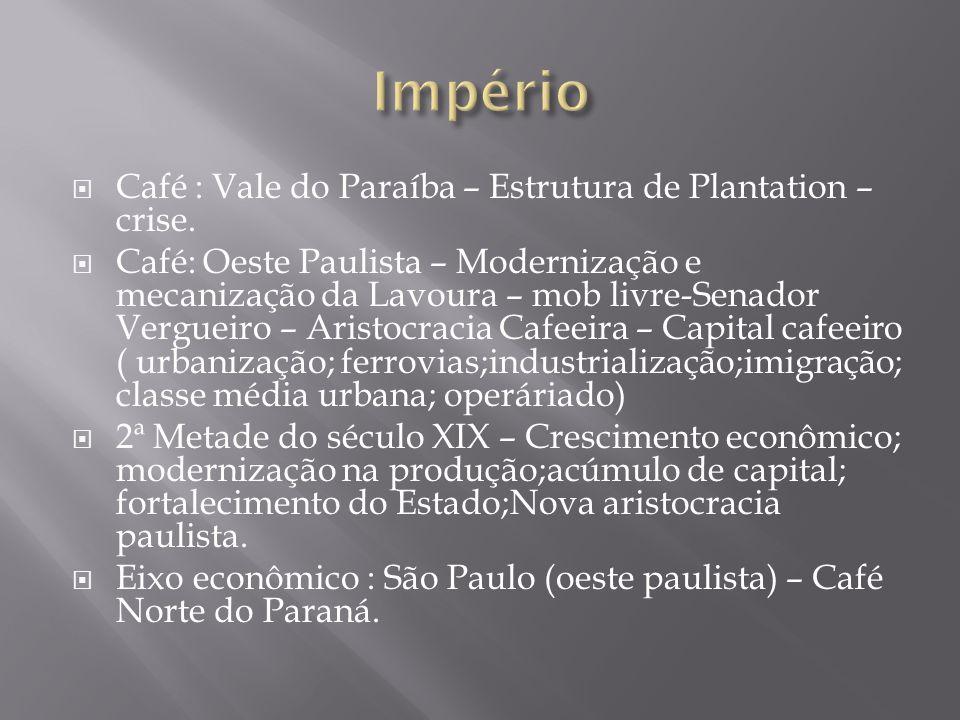 Império Café : Vale do Paraíba – Estrutura de Plantation – crise.