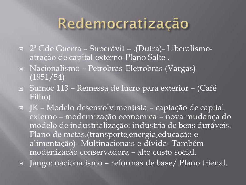 Redemocratização 2ª Gde Guerra – Superávit – .(Dutra)- Liberalismo-atração de capital externo-Plano Salte .