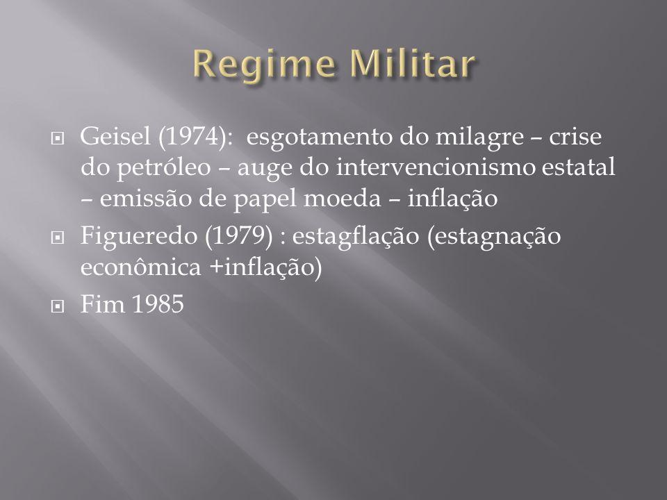 Regime Militar Geisel (1974): esgotamento do milagre – crise do petróleo – auge do intervencionismo estatal – emissão de papel moeda – inflação.