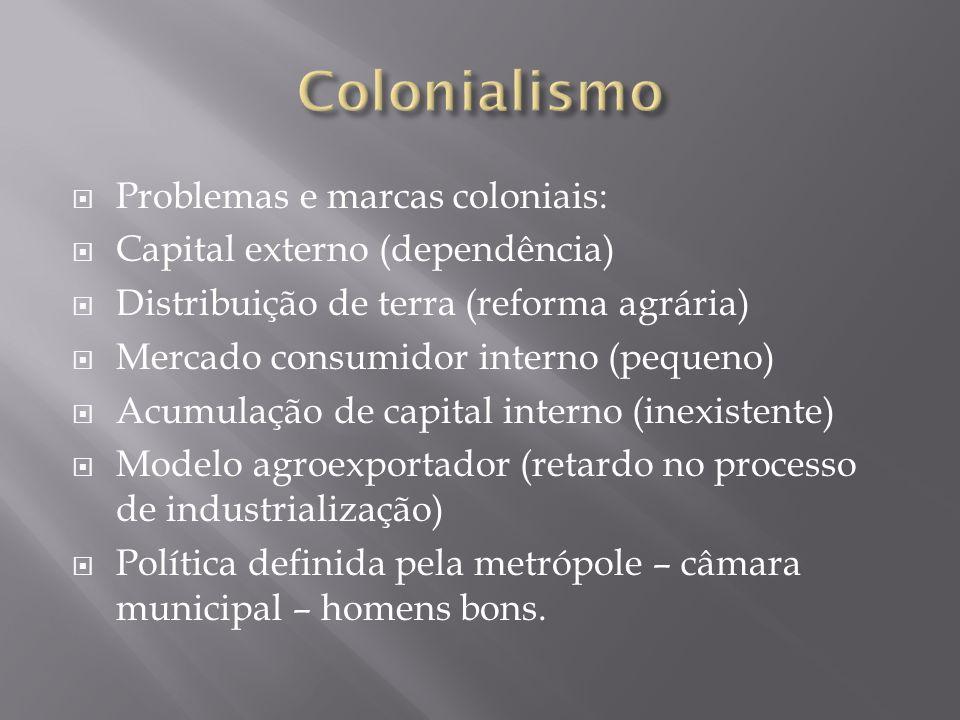 Colonialismo Problemas e marcas coloniais: