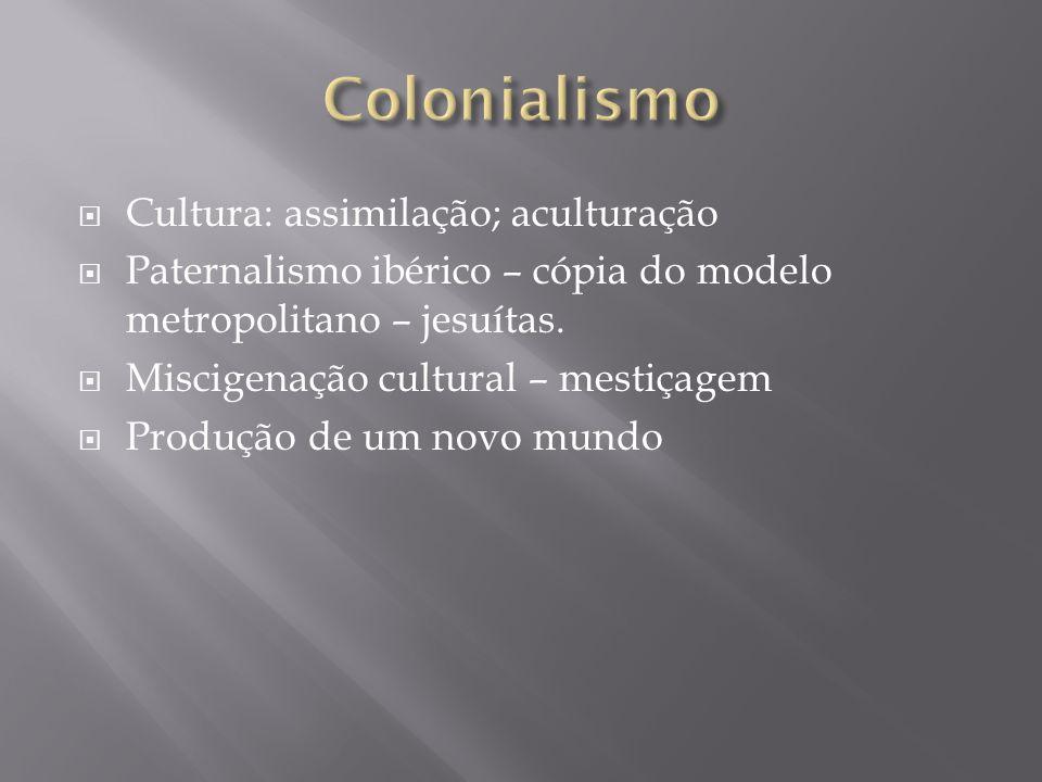 Colonialismo Cultura: assimilação; aculturação