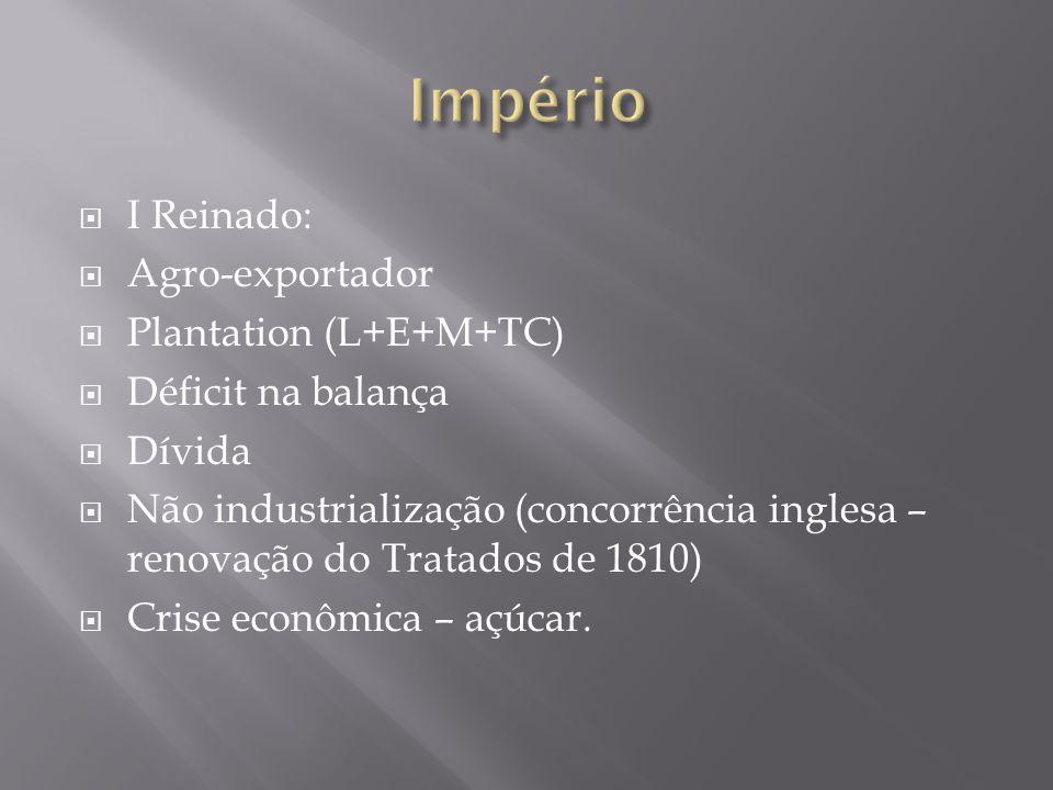 Império I Reinado: Agro-exportador Plantation (L+E+M+TC)