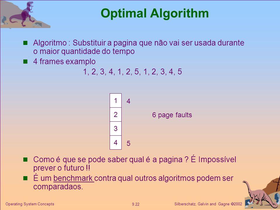 Optimal Algorithm Algoritmo : Substituir a pagina que não vai ser usada durante o maior quantidade do tempo.