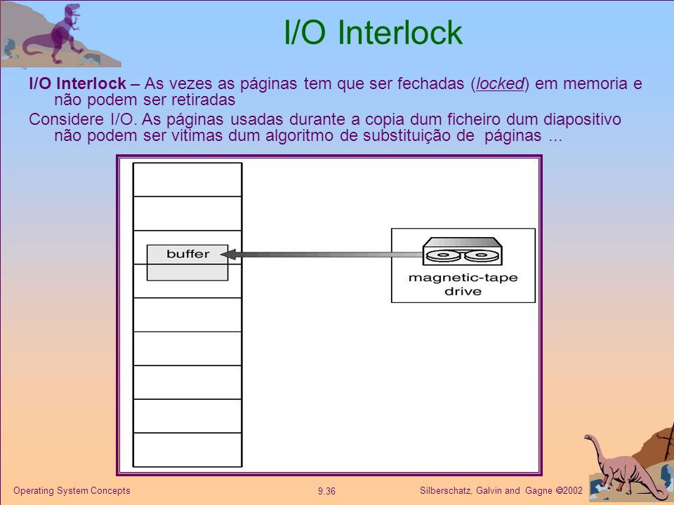 I/O Interlock I/O Interlock – As vezes as páginas tem que ser fechadas (locked) em memoria e não podem ser retiradas.