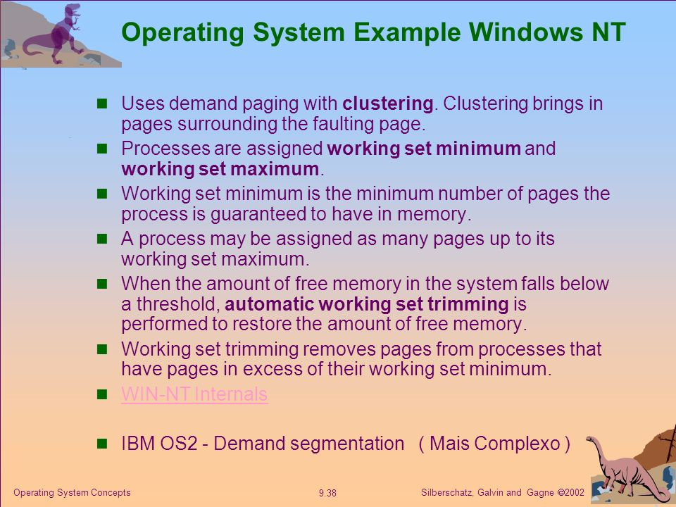 Operating System Example Windows NT