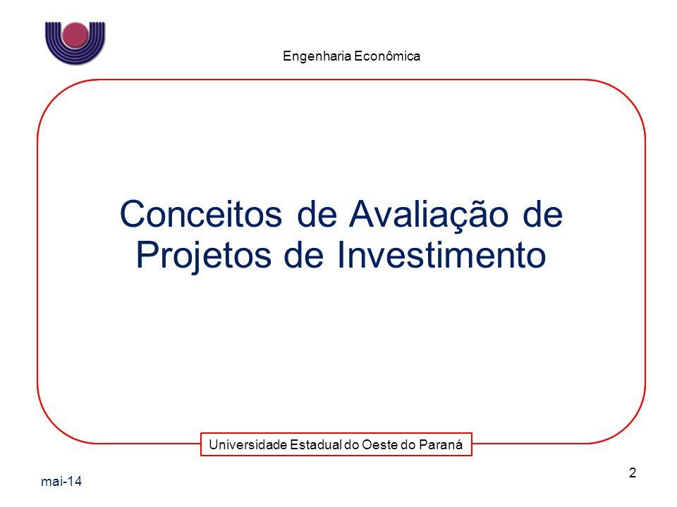 Conceitos de Avaliação de Projetos de Investimento