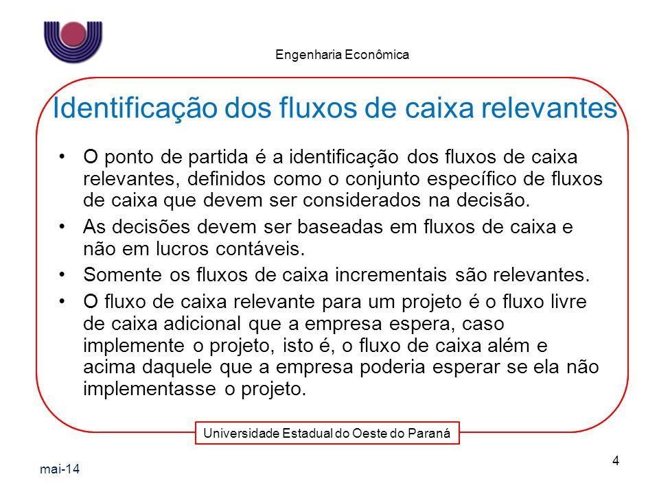 Identificação dos fluxos de caixa relevantes