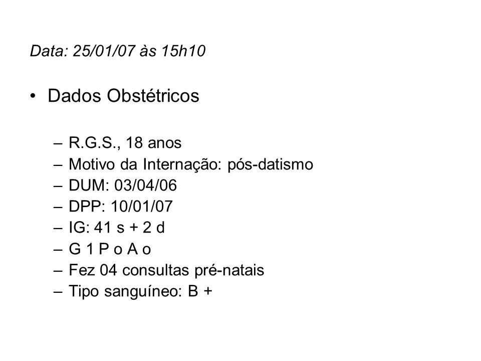 Dados Obstétricos Data: 25/01/07 às 15h10 R.G.S., 18 anos