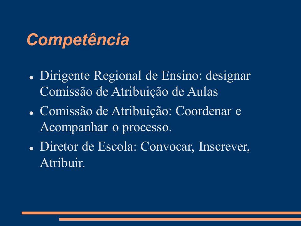 Competência Dirigente Regional de Ensino: designar Comissão de Atribuição de Aulas. Comissão de Atribuição: Coordenar e Acompanhar o processo.