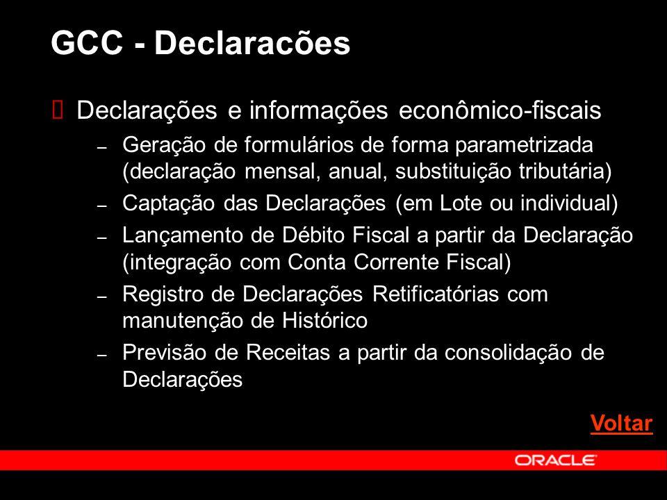 GCC - Declaracões Declarações e informações econômico-fiscais