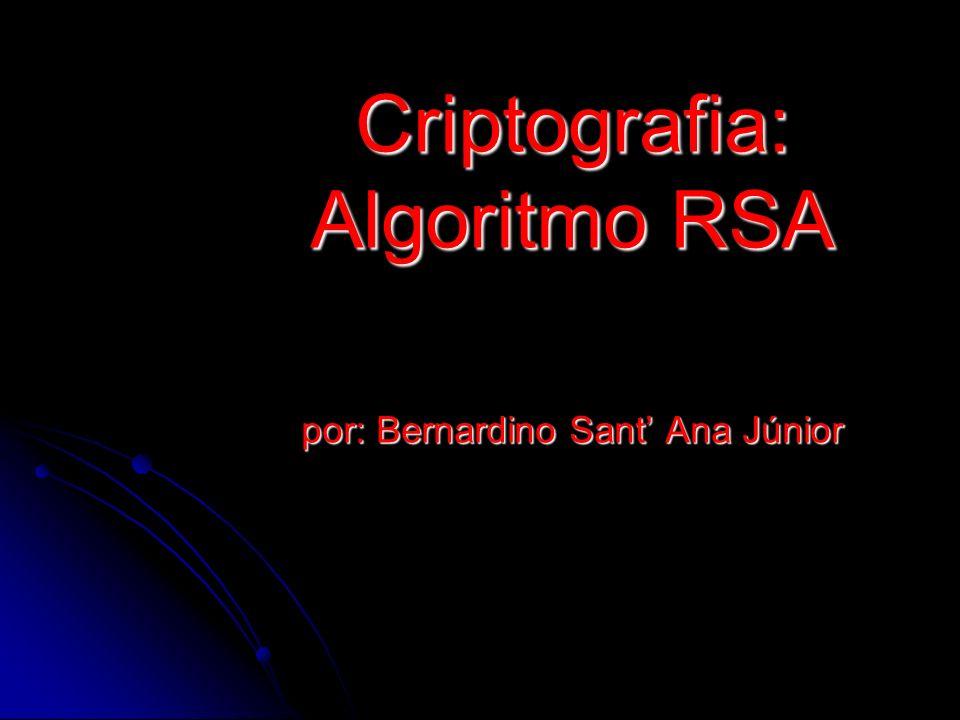 Criptografia: Algoritmo RSA por: Bernardino Sant' Ana Júnior