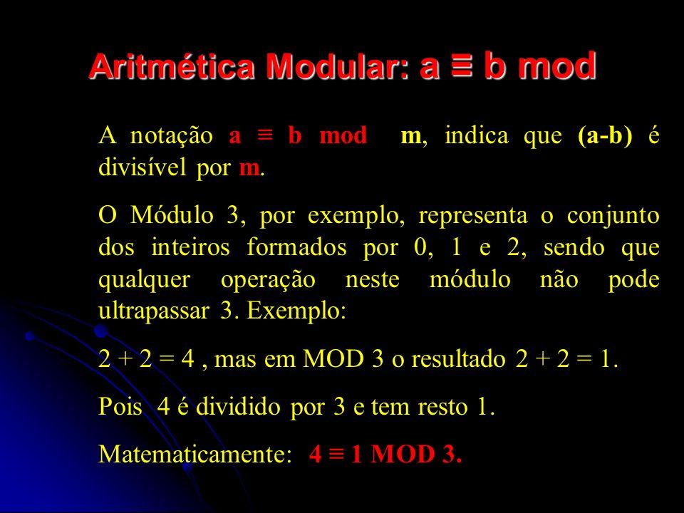 Aritmética Modular: a ≡ b mod