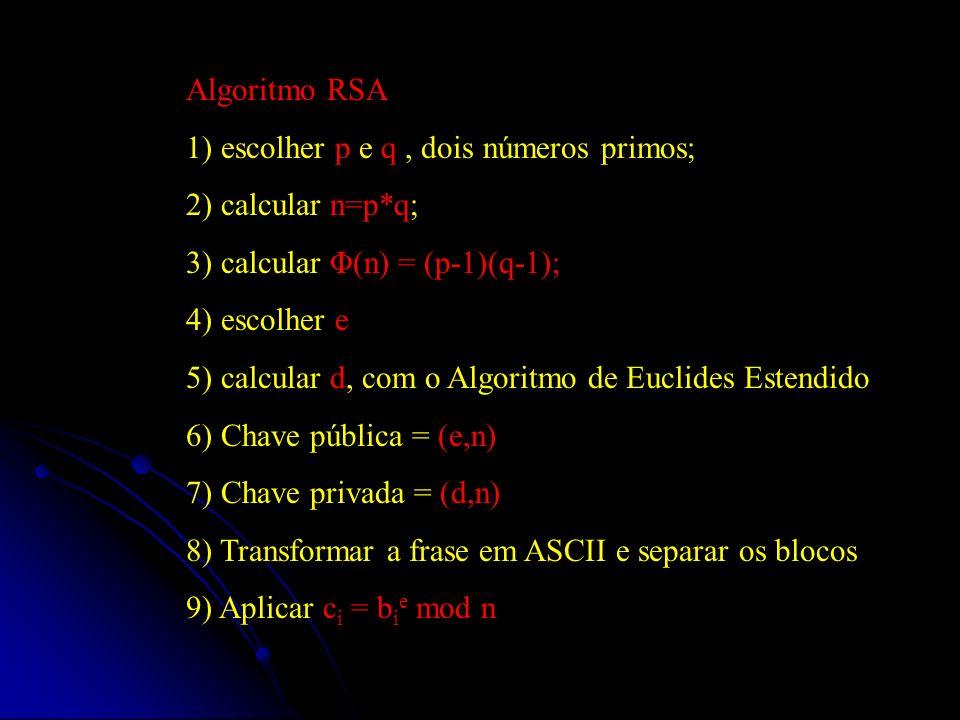 Algoritmo RSA 1) escolher p e q , dois números primos; 2) calcular n=p*q; 3) calcular Φ(n) = (p-1)(q-1);
