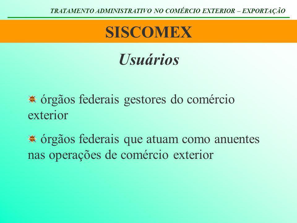 SISCOMEX Usuários órgãos federais gestores do comércio exterior