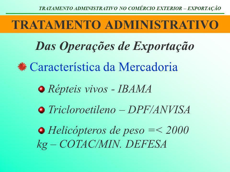 TRATAMENTO ADMINISTRATIVO Das Operações de Exportação