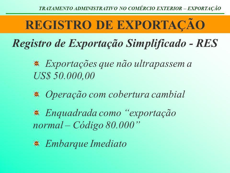 REGISTRO DE EXPORTAÇÃO Registro de Exportação Simplificado - RES