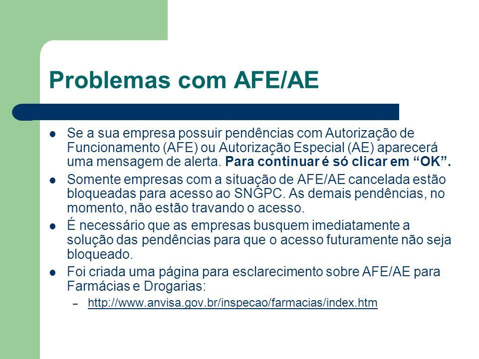 Problemas com AFE/AE