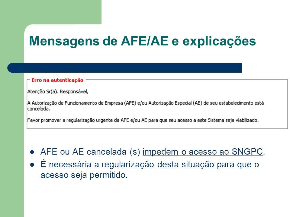 Mensagens de AFE/AE e explicações