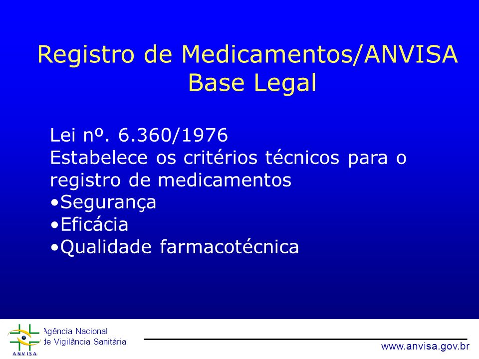 Registro de Medicamentos/ANVISA Base Legal